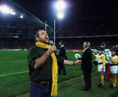 Singing 'Waltzing Matilda' at the Bledisloe Cup