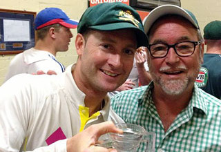 John with captain Michael Clarke at the SCG after Australia's historic Ashes win - January 2014